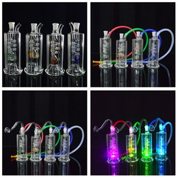 """Coil Perc Bong Canada - LED Bong Water Pipe 4.5"""" Heady Dab Rig Water Pipe with Inline Coil Perc Small Oil Rigs Glass Hookah Discount Smoking Pipes"""