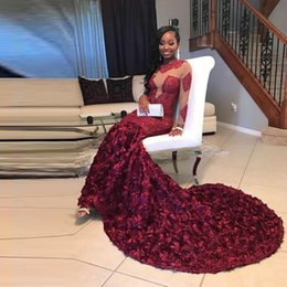 $enCountryForm.capitalKeyWord NZ - 2K18 Prom dresses African Black Girls Pageant Jewel Neck Burgundy Lace 3D Rose Flowers Long Formal Dresses Evening Prom Wear