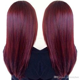 colored remy hair NZ - Brzailian Straight Remy Human Hair Extensions 99# Brazilian Burgundy Human Hair Weave 3 Bundles Cheap Colored Brazilian Red Remy Hair