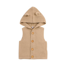 knitting baby vest UK - Baby Boys Girls Knitting Vest Kids' Sweaters Cute Ears Hooded Vest Warm Hooded Coat Children Cotton Vest Clothes Clothing