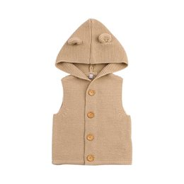 Wholesale Baby Boys Girls Knitting Vest Kids Sweaters Cute Ears Hooded Vest Warm Hooded Coat Children Cotton Vest Clothes Clothing