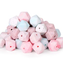 Wholesale 14mm Hexagon Beads Food Grade Teething Beads Marble Pink Blue Green Baby Chew Bite Loose Bead Necklace Bracelets Jewelry Making Accessories