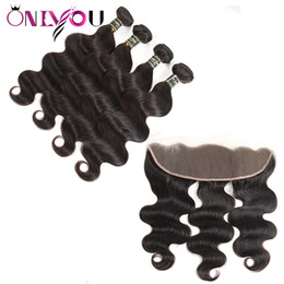 24 inch tape hair online shopping - Onlyou Superior Supplier Brazilian Body Wave Hair Weaves Bundles with Frontal Closure Mink Brazilian Virgin Hair Bundles Tape Hair Extension