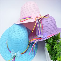 Новая мода лето детские шляпы солнца девушка лук Cap с кистями детские Большие Поля тени солнцезащитный крем девушки