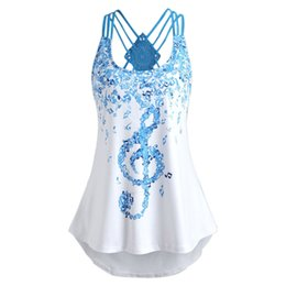 $enCountryForm.capitalKeyWord Canada - Hot sale T Shirt Women Ladies' cross Bandages Sleeveless hot girl Vest Top Musical Notes Print Strappy summer crop Tops
