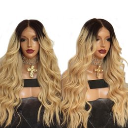 Sexy hairS woman online shopping - Hot Sexy Density Ombre Golden Blonde Long Curly Wavy Wigs With Baby Hair High Temperature Glueless Synthetic Lace Front Wigs For Women
