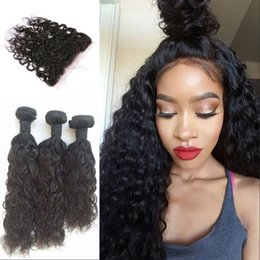 $enCountryForm.capitalKeyWord Australia - Water Wave Lace Frontal With Bundles Mongolian 100% Unprocessed Human hair 3pcs Hair Extensions Fast Shipping LaurieJ Hair