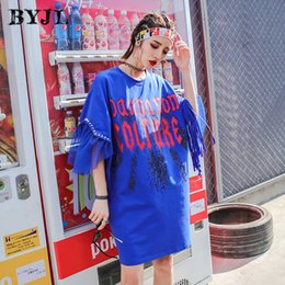 Blue T Shirt Plus Size Dress Streetwear Puff Sleeve Korean Style Everyday  Loose Hip Hop Straight Harajuku Long Tops Tee SZ6269 1a77a6780592