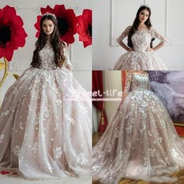 dress full hand images 2019 - 2017 Ball Gown Wedding Dresses Off Shoulders Sheer Half Long Sleeves Full Lace 3D-Floral Appliques Tulle Tiered Skirts B