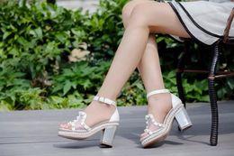 $enCountryForm.capitalKeyWord Canada - Summer Popular Women Sandals Pearl decoration Peep Toes Chunky Heel Shoes Lace Mesh Fashion Sexy Fashion Ladies Shoes