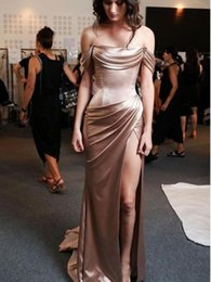 vintage model boats NZ - Glamorous Boat Neckline Pleat Off Shoulder Sheath Prom Dresses Sexy High Side Slit Mermaid Long Evening Prom Gowns Custom Made Party Wear