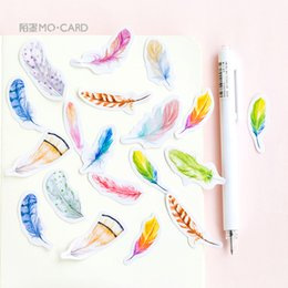 diary stickers labels 2019 - 45pcs lot Custom Feather Label Paper Diary Decorative Kawaii Calendar Journal Japanese Stickers Scrapbooking Flakes Stat