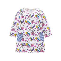 Christmas Clothes Australia - 5pcs lot Baby Dress with Pockets Cartoon Patterns Printed Girl Long Sleeve Dress Christmas Baby Girl Clothing