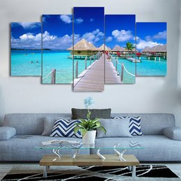 oil paint island Australia - HD Printed 5 Piece Canvas Art Island Beach Painting Modular Wall Pictures for Living Room Free Shipping