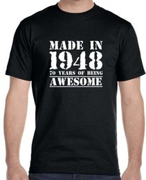 Tall Tee Men Canada - Printed Tee Shirt Crew Neck Short Made In 1948, 70 Years Of Being Tall T Shirt For Men