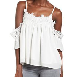 612a5c06dcc Women White Blouse Solid Lace Spliced Cold Shoulder Blouses Elegant Vintage  Lace Blouse Summer Shirt Top Dentelle  EP