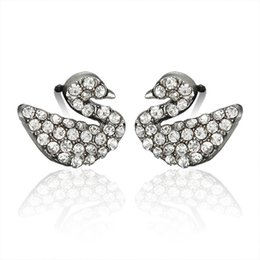 Mini swan online shopping - Simple wild personality animal mini Swan micro drill earrings hypoallergenic ear ornament female gift