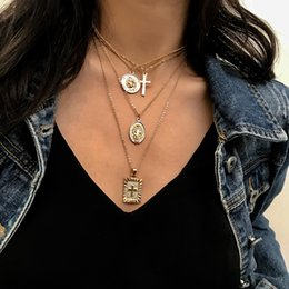 $enCountryForm.capitalKeyWord Australia - Charms Coins Statement Choker Trendy Multi Layered Chain Gold Silver Jesus Big Cross Pendant Necklace women Jewelry collares