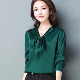 fe6a19829761e Discount black satin blouses - 2018 Spring Autumn slip satin shirts women  long sleeve Shiny satin