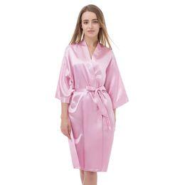 d64eba49f8c Sexy Women Satin Pink Solid Nightdress Home Gowns Bridesmaid Bride Wedding  Robe Evening Robes Female Kimono Bath Gown Sleepwear