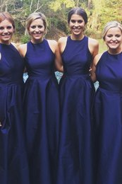 taffeta bridesmaid wedding dresses champagne NZ - Navy Blue Sleeveless Taffeta A Line Sash Bridesmaid Dresses New Arrival Modern Simple Wedding Party Gowns Custom Made Fashion Hot Sale