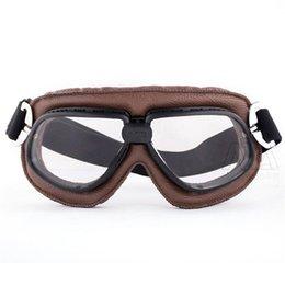 Cuir Marron Doux Rembourré Vintage Aviateur Pilote Cruiser Steampunk Lunettes Moto Racing Lunettes Aviateur Pilote Casque lunettes
