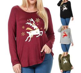 plus size christmas deer print asymmetric t shirt in red 3xl