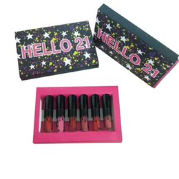 Mais recente maquiagem Lip Gloss Olá 21º Aniversário Coleção Olá 21 6 cores Matte Batom Lip Gloss Sorvendo Bonita DHL entrega gratuita