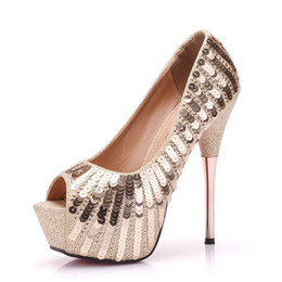 aa6a66276239 Women High Heels Platform Pumps Peep Toe Glitter Gold Wedding Shoes  Stiletto Heels 14cm Sexy Ladies Gladiator Platform Pumps