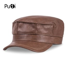d816783f7ba HL059 genuine leather men baseball cap hat brand new mens real leather  adult solid adjustable army hats caps
