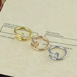 Jewelry for finger nail online shopping - Luxury Brand L Stainless Steel Lover Finger Ring Cart Nail Ring Jewelry for Men Women Gift Ring with CZ Stone