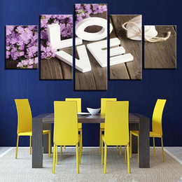 Cheap Wall Canvas Prints Australia - Modular Cheap Pictures Prints 5 Panels Love Flower Unframed Modern Painting Wall Art For Living Room Home Decor Artwork Canvas