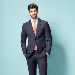 Men Sky Blue Pants Canada - Custom Made Navy Blue Groom Groomsmen Tuxedos Formal Men's Slim Fit Suits Groom Tuxedos Men Suits (Jacket+Pants)