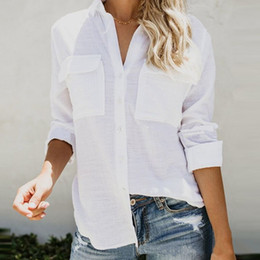 Discount office club clothes - 2018 Women Designer Clothes Women Shirts Linen Long Sleeve Sexy Ladies Tops Office Club Party Blouses Female Shirt Outfi