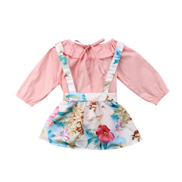 $enCountryForm.capitalKeyWord Australia - 0-24M Spring Autumn Toddler Baby Girls Lovely Sweet Clothes Sets Ruffles Solid Pink T-Shirts Tops+Floral Print Overalls Skirts