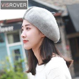9725f0d0111f7 VISROVER New Winter Patchwork Bonias Wool Beret Hats for Womens Cashmere Girl  Berets Warm Cap Casual High Quality Designer Caps