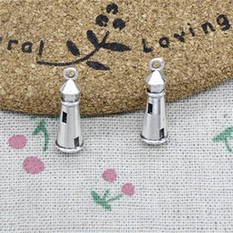 Lighthouse Necklace NZ - 87pcs Charms hollow 3D lighthouse 25*8mm Tibetan Silver Vintage Pendants For Jewelry Making DIY Bracelet Necklace