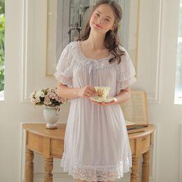 2018 Summer New Women s Sexy Lace Vintage Princess Nightdress Women Long  Midnight Skirt Large Size Home Wear Bathrobe Nightgowns 6e35e97df