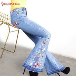 Discount blue trousers for girls - Embroidery Stretching Flare Jeans Women Stretching Bell-Bottoms Jeans For Girls Trousers for women Large Size A#k97