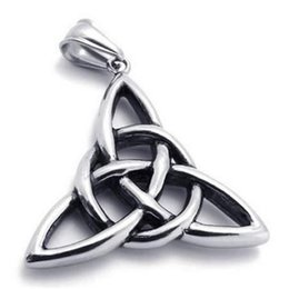 Vintage Stainless Steel Celtic Knot Amulet Pendant Mens Womens Necklace on Sale