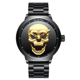 $enCountryForm.capitalKeyWord NZ - men's Punk watch Gold Skull Skeleton Three dimensional dial Black stainless steel strap Luxury watches quartz watch Army sports wristwa