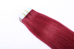 Peruvian remy hair styles online shopping - 2 g pc quot Remy Tape In Hair Extension Piano Color Straight European Skin Weft Human Hair Extensions Salon Style