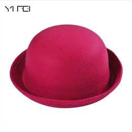 $enCountryForm.capitalKeyWord UK - Hot Winter Autumn Cute Ladies Female Formal Wool Solid Color Dicer Billycock Hemming Bowler Hat Classic Women's Caps Fedora Hat