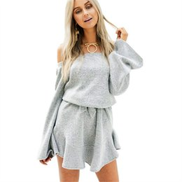 3debea5e99b X 2018 New Arrival Autumn Winter Women Sweater Dress Loose Long Sleeve Sexy  Off Shoulder Knitted Dress A-line Party Dress Vestiods