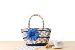 straw hands bag NZ - Wholesale 2018 small handkerchief colorful stripes straw bag gorgeous simulation flowers hand-woven bag holiday beach bag