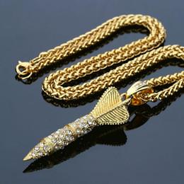 $enCountryForm.capitalKeyWord NZ - 2018 Gold Darts Arrow Pendant Necklace Crystal Lced Out Bling Rhinestone Fashion Punk Rocket Pendants & Necklaces Men Jewelry