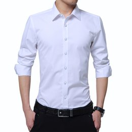 46e0a96c3e3 Mens Long Sleeve Shirts Slim Fit Solid Color Dress Shirts Male Social Clothes  Casual Classic Business Man Wedding Tuxedo