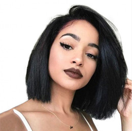 straight lace front wig cheap UK - Cheap Human Hair Straight Wigs Pre Plucked Hairline Short Brazilian Hair Free Part Bob Lace Front Wig Full Lace Wig