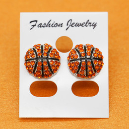 Fashion studs earrings online shopping - basketball Rhinestone round yellow softball stud earrings gift for sports mom spots team gift for her softball mom fashion earring hook stud