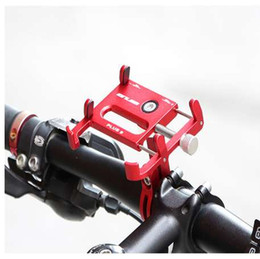 "bike cell phone mount Canada - Aluminium Alloy Bike Bicycle Universal Cell Phone Holder Motorcycle Handlebar Mount Handle Phone Support For 3.5-6.2"" iPhone GPS"